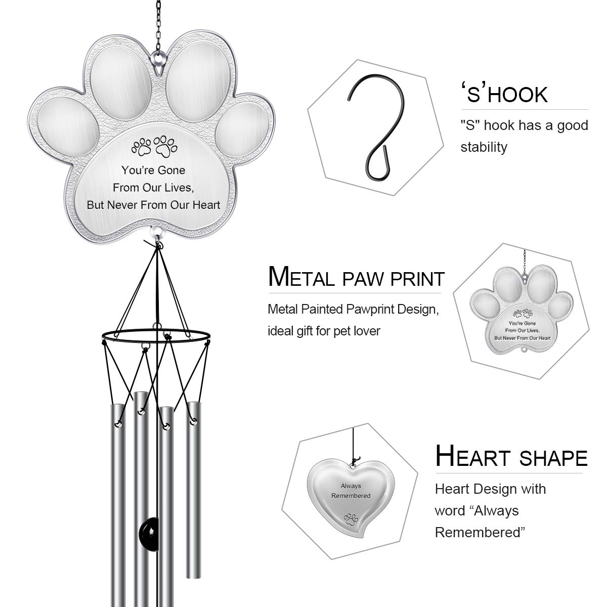 CREATIVE DESIGN Pet Memorial Wind Chime, 32''H Paw Prints Pet Remembrance Wind Chimes, Sympathy Gift for a Grieving Pet Owner
