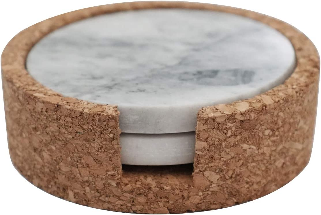 Marble Coaster Set of 2 - (4 x 4 x 3/4 in) (Round)