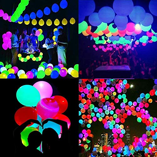 LED Light up Ballons for Party -Led Flash Ball Lamp Mixed Colors Balloon,Glow in The Dark Balloons for Party,Bridal Shower,Birthday,Wedding,Home Decoration,Inflate with Air or Helium (50pack)