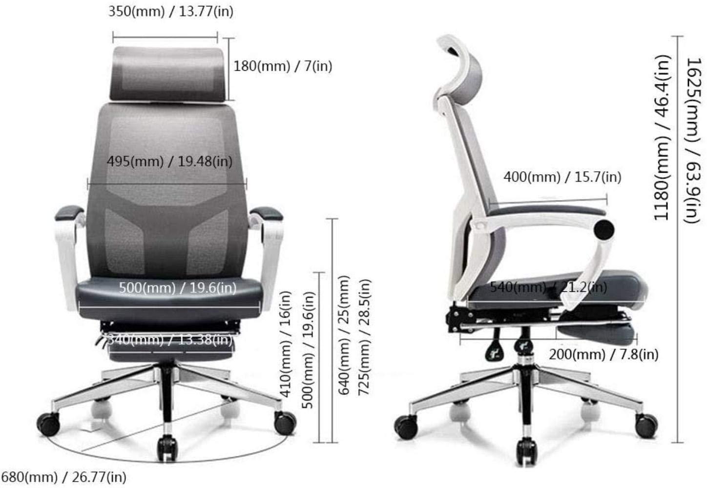 Liggande kontorsstol, ergonomisk roterande stol mellanbak nät arbetsstol, förhöjd sänkt, släpfot rotera avancerad knästol (färg: vit) Vitt