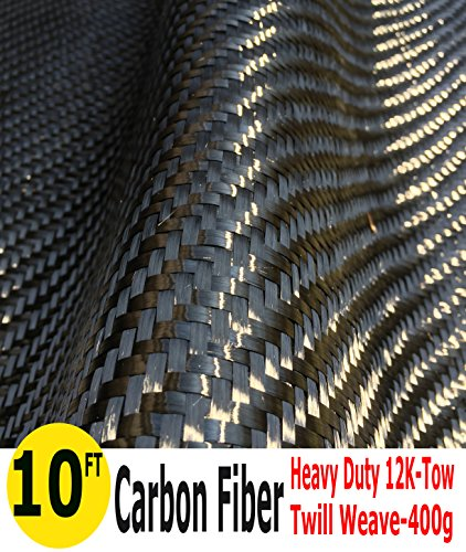 10 Ft -CARBON FIBER FABRIC-TWILL WEAVE-12K/400g x 1 meter by Carbon Fiber Fabric-Twill Weave-12K/400g