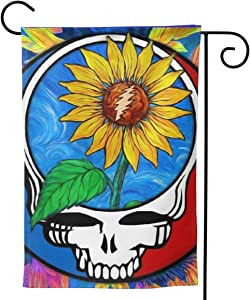 KUMI Grateful Decorative Polyester Fabrics Garden Flag, Double Sided Dead Skull House Flags, Grate-ful Deadscolorful Yard Outdoor Decor 12 X 18 Inch/28x40 Inch