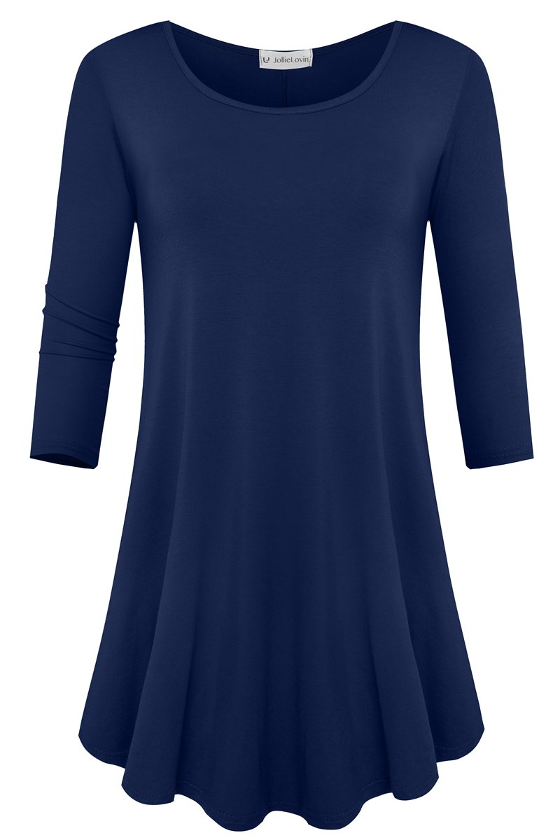 JollieLovin Womens 3/4 Sleeve Loose Fit Swing Tunic Tops Basic T Shirt (Navy Blue, L)