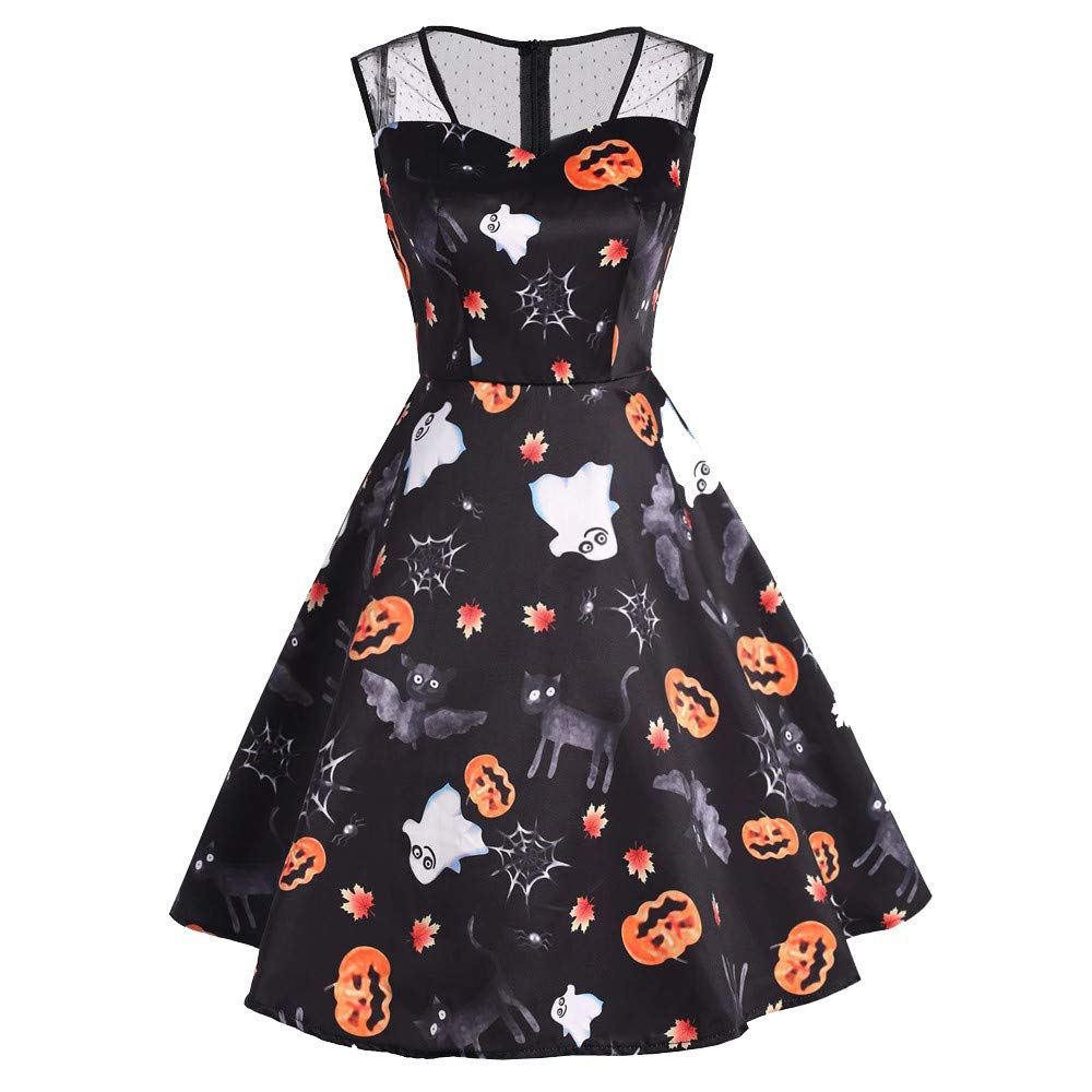 Ulanda 2018 New Women Long Sleeve Halloween Printed Flare Dress Elegant Party Casual Dresses
