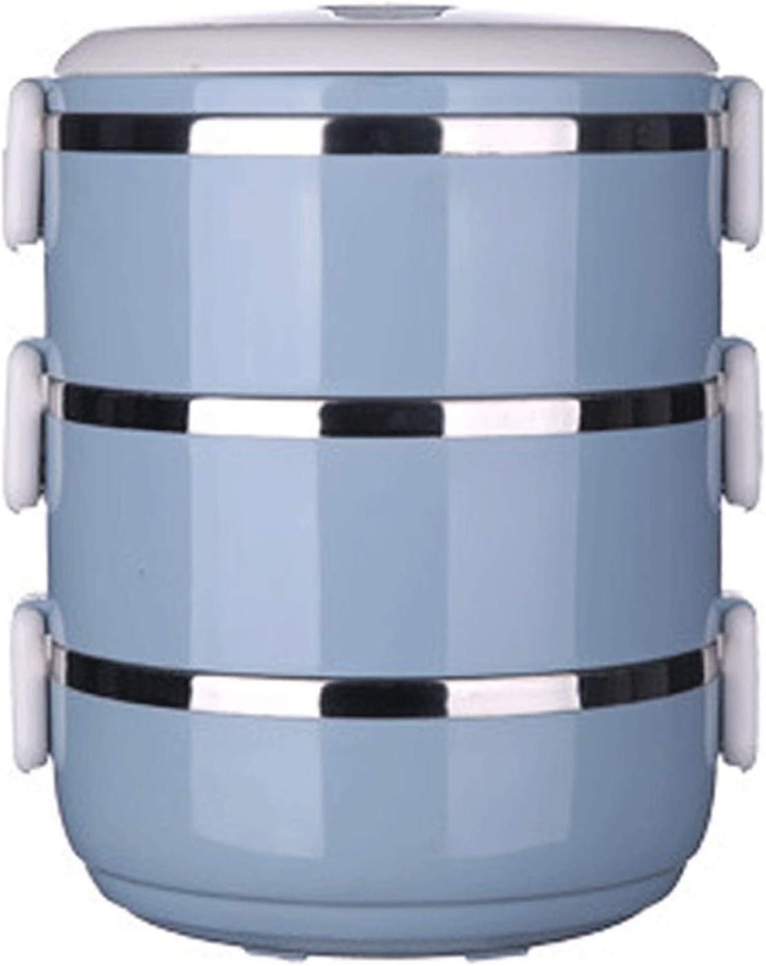 Lunch Box Caja de acero inoxidable, doble redonda sellada para estudiantes (color: azul)