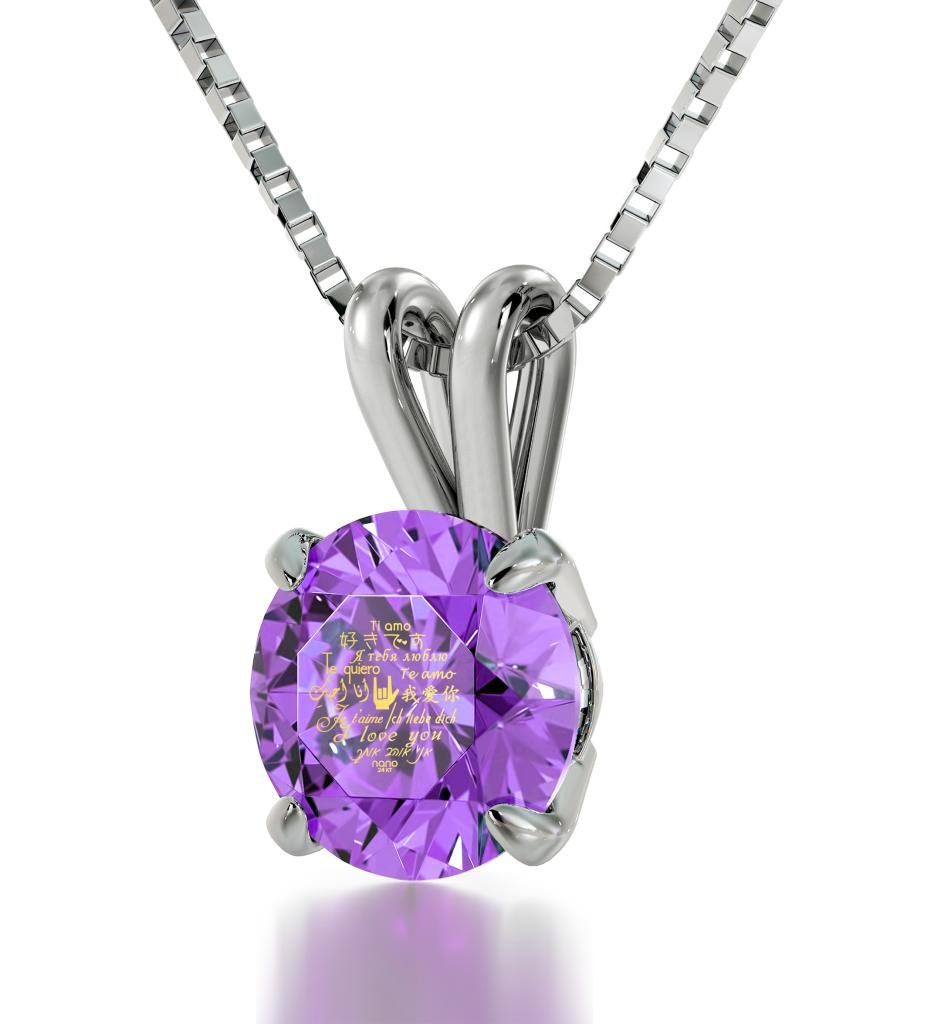 925 Sterling Silver I Love You Necklace Solitaire Pendant 12 Languages Inscribed on Violet Crystal, 18''