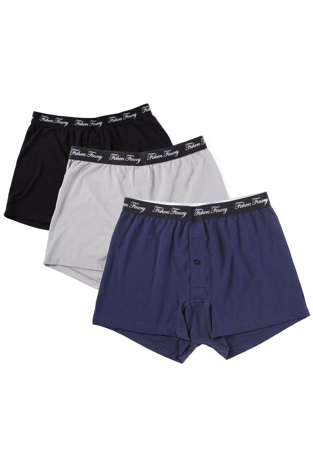 Fishers Finery Mens Tagless Modal Cotton Microfiber Boxers; 3 Pack (Multi, L)