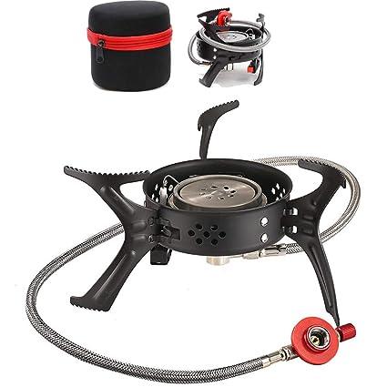 CHUDAN Estufa de Camping Sistema de precalentamiento de Encendedor piezoeléctrico, Mini Estufa de Gas compacta