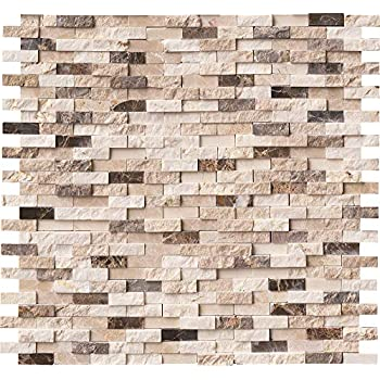 MS International AMZ-MD-00057 White Oak Splitface Tile 57 Piece 12in x 12in
