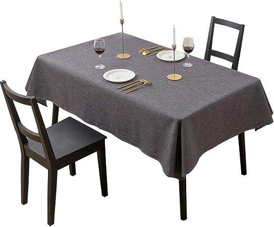 Mantel- Mantel de Tela Impermeable de Tela de Lino de algodón Mantel Rectangular (Color : Dark Grey, Size : 140X220cm): Amazon.es: Hogar