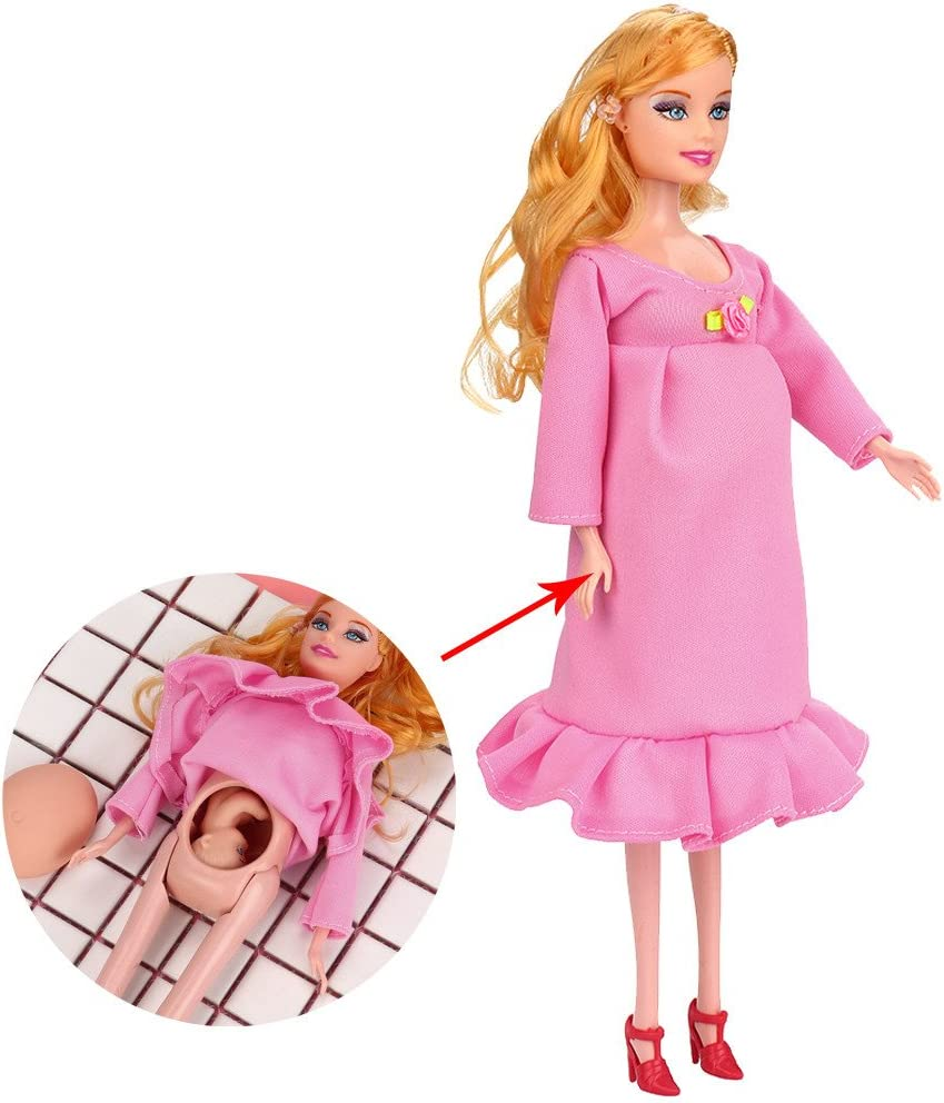HUHU833 Dress Real Pregnant Doll Suit Mom Doll Have A Baby In Her Tummy For Barbie Pink B