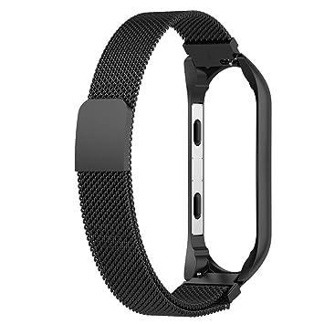 Gusspower Nueva Pulsera Ligera de Acero 304 Inoxidable de Moda Correa de Reloj Inteligente para Xiaomi MI Band 3 (Negro): Amazon.es: Deportes y aire libre