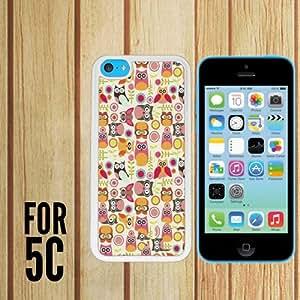 Búhos la carcasa/Cubierta patrón/para Apple iPhone 5c - White - carcasa de goma