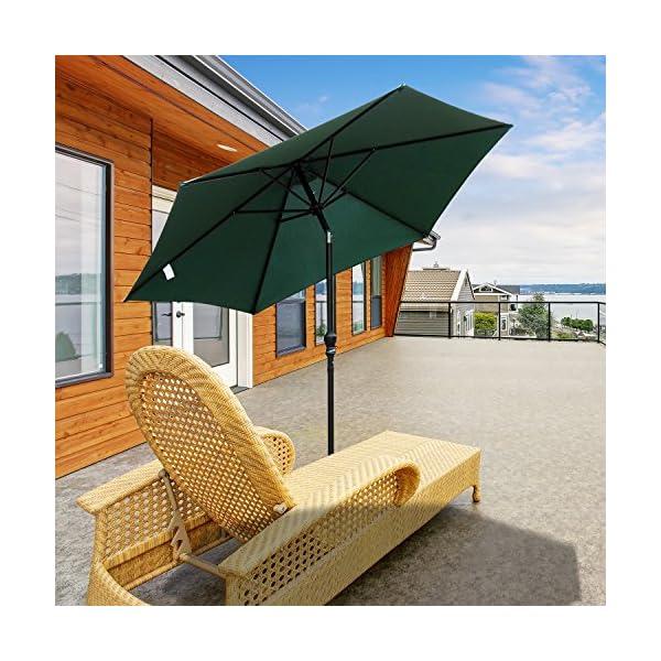 Outsunny Ombrellone da Giardino Inclinabile Spiaggia Alluminio e Poliestere Φ2.7×2.35m Verde Scuro 2 spesavip