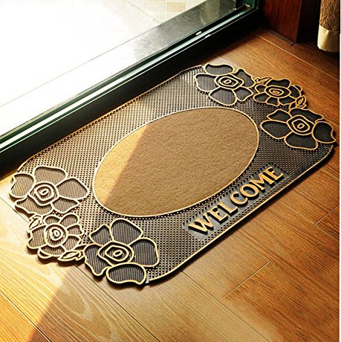 Cuteshower Decor Rubber Doormats Entry Carpet Turf Water Absorbent Charcoal Rugs -Washable Indoor/Outdoor Outside Coir Door mat Non Slip Backing Roses 18