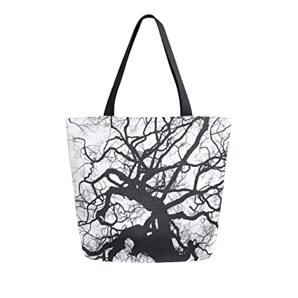 1ab731932 Image Unavailable. Image not available for. Color: Black And White Old Tree  Reusable Grocery Shopping Bag Womens Heavy Duty Canvas Tote ...