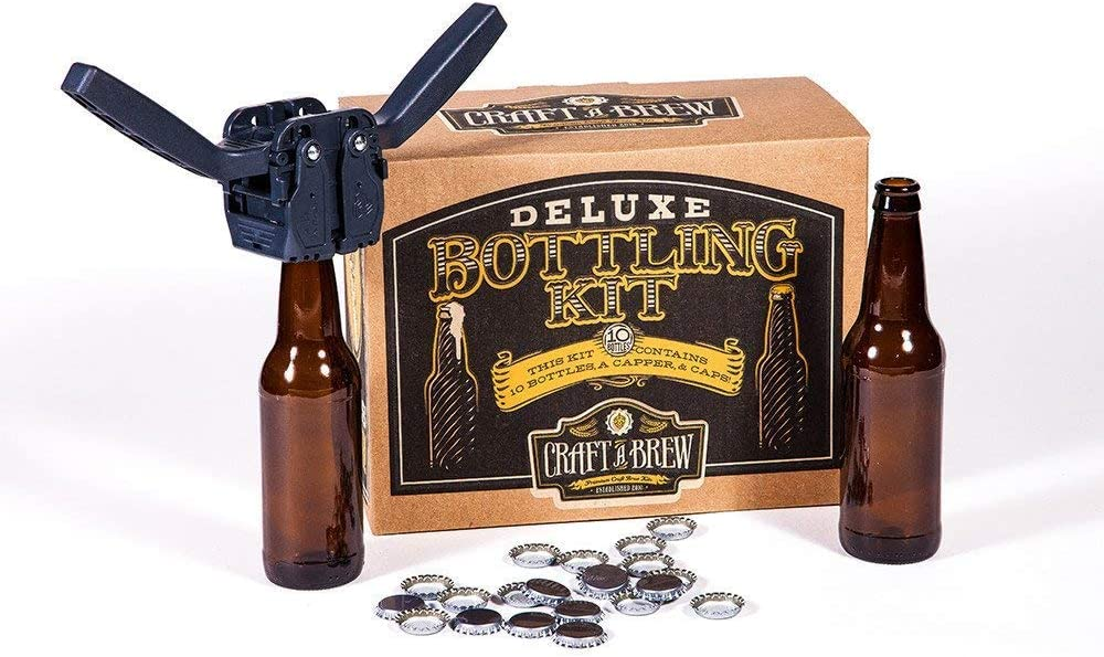 Deluxe Bottling Kit – Craft a Brew Homebrew Bottler Equipment – Home Brewing Easy Bottling Set – 10 Empty 12oz. Amber Glass Bottles – 30+ Caps – 1 Capper