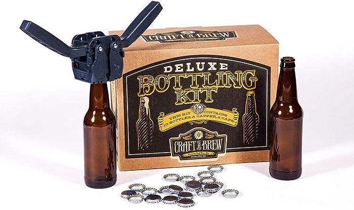 Deluxe Bottling Kit – Craft a Brew Homebrew Bottler Equipment – Home Brewing Easy Bottling Set – 10 Empty 12oz. Amber Glass Bottles – 30+ Caps – 1 Capper