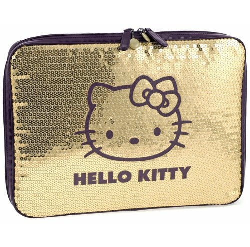 - Hello Kitty Gold & Purple Sequinned Covered padded Netbook / Laptop Sleeve