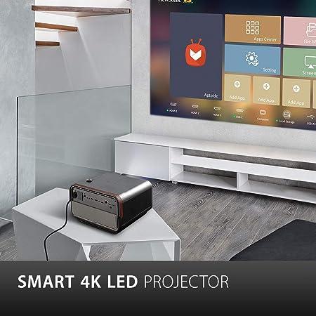 ViewSonic X10-4K Proyector SMART LED UHD portátil de corto alcance para juegos, entretenimiento familiar y doméstico con Wi-Fi Bluetooth y audio Harman Kardon: Amazon.es: Electrónica