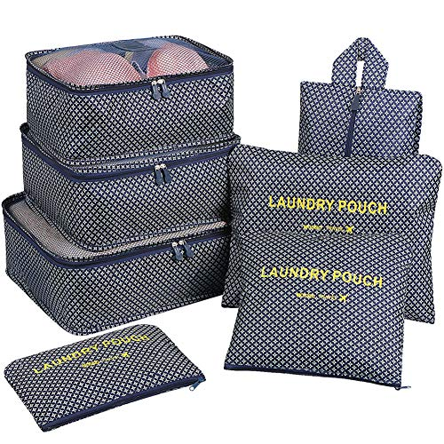 - Packing Organizers,Mossio 7pc Small Medium Large Packing Cubes Set Garment Clothes Bag Navy Star