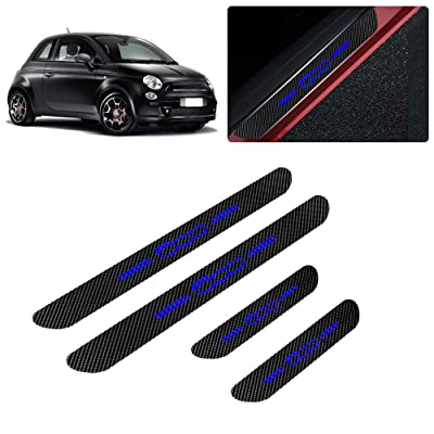 for Fiat 500 500X 500C Abarth 500L Bravo Linea Grande Punto 4D Carbon Fiber Door Sill Guard Protector Kick Plate Trim Covers Stickers with No Smoking Blue 4Pcs: Automotive