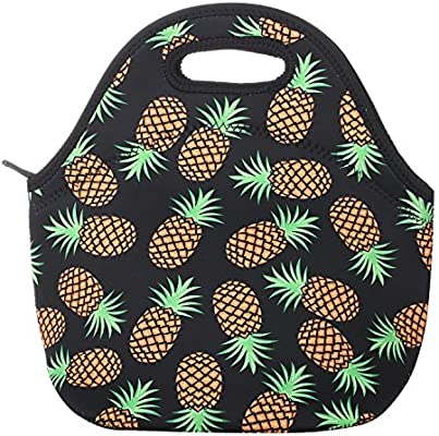 e49aaf690150 Aiphamy Pineapple Neoprene Lunch Bag Insulated Lunch Box Tote for Women Men  Adult Kids Teens Boys Teenage Girls Toddlers (Black)