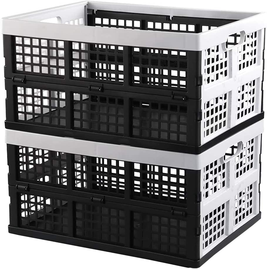 Hespapa 35 Quart Folding Crates, Plastic Collapsible Storage Container Milk Crate Baskets, 2 Packs