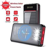 Aikove Batería Externa 26800mAh Cargador Portátil Móvil Inalámbrico, Solar Power Bank con 2 Entrada(USB C&Micro) y 3…