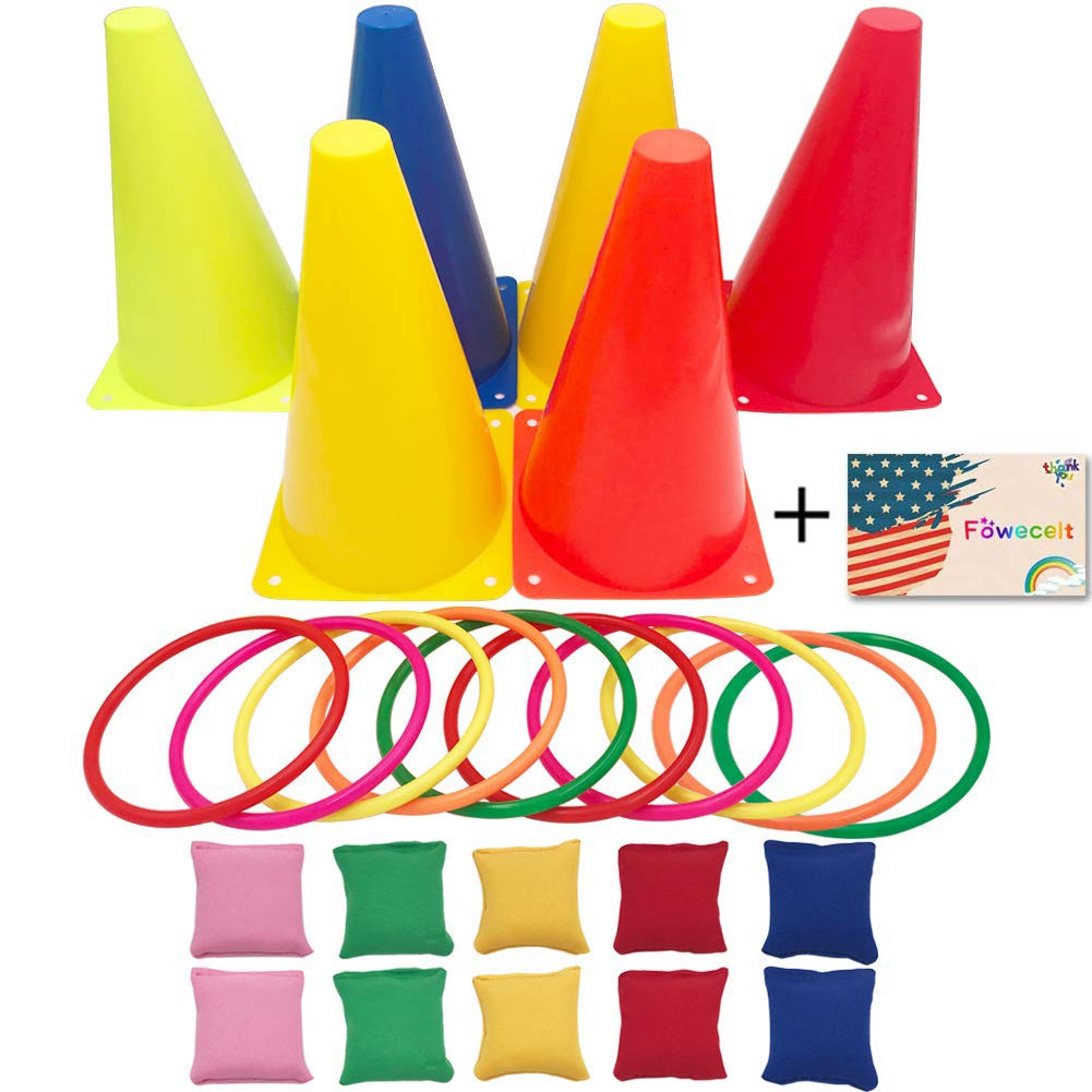Fowecelt 3 in 1 Carnival Games Set, Plastic Cone Cornhole Bean Bags Ring Toss Game For Carnival Birthday Party Indoor Outdoor Game Supplies (26 Piece Set) by Fowecelt (Image #1)