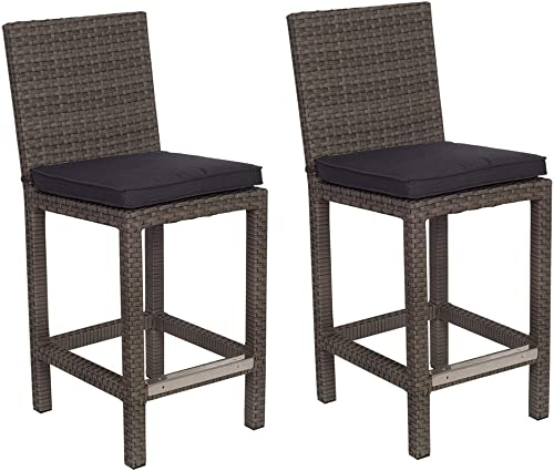 Atlantic Patio Monza 2-Piece Patio Barstool wi Wicker Ideal for Outdoors and Indoors