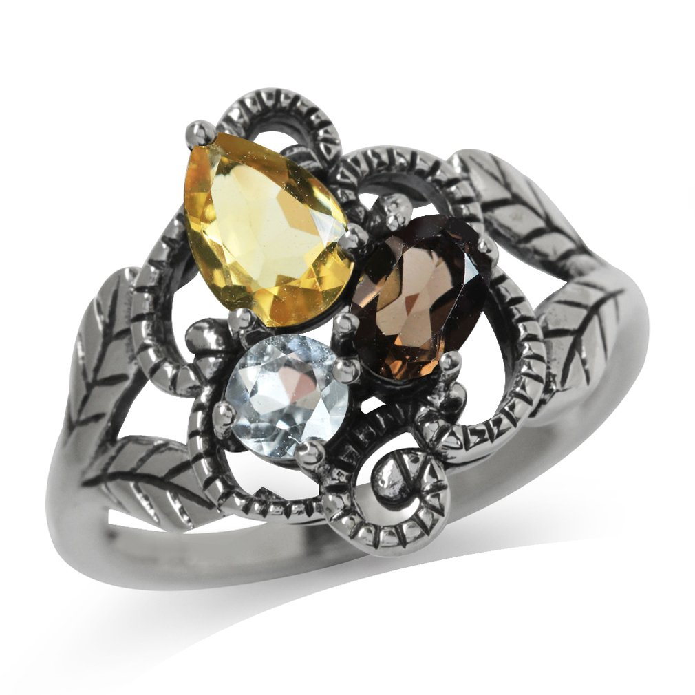 Natural Citrine, Smoky Quartz & White Topaz 925 Sterling Silver Vintage Style Leaf Ring Size 10