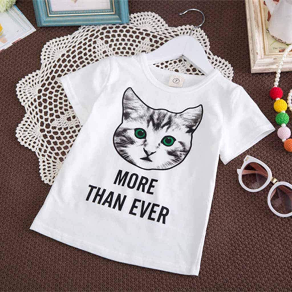 BSGSH Toddler Baby Girls Clothes Letter/&Cat Printed Summer Tops Skirt Outfit Set 2PCS