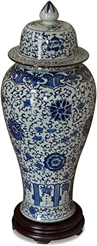 ChinaFurnitureOnline Porcelain Vase, 39 Inches Tall Floral Motif Ginger Jar Blue and White