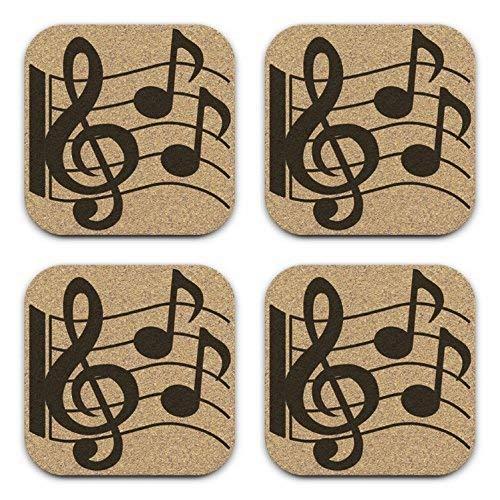 Musician Treble Clef Notes Design Cork Coaster Gift Set of 4 Music Teacher