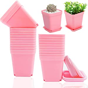 24 Pack Plastic Square Nursery Pots,Square Plastic Plant Pots,Nursery Transplanting Planter Container for Garden,Balcony,Indoor Outdoor Home Decor(Pink)