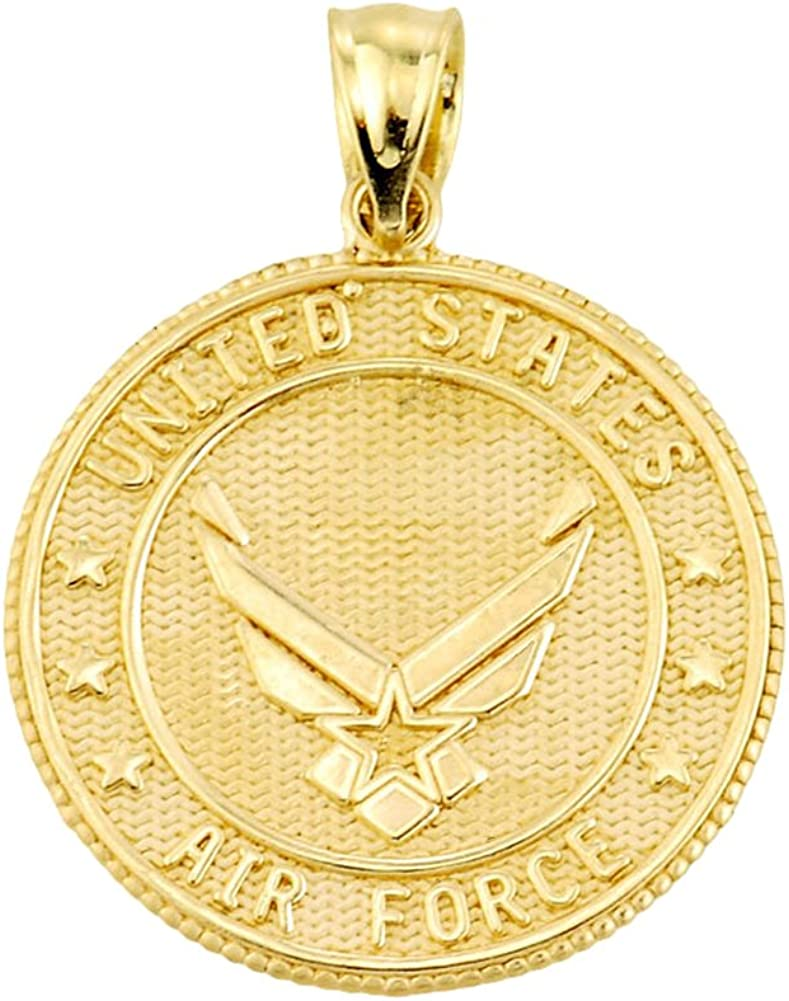 US Air Force 14k Yellow Gold With Prayer Blessing Pendant Necklace