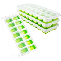 4 Pack Ice Cube Trays, Easy Release Silicone and Flexible 14-Ice Trays with Spill-Resistant Removable Lid, LFGB Certified and BPA Free, Stackable Durable and Dishwasher Safe