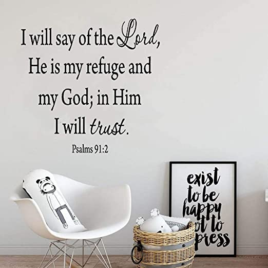 God is our refuge Inspirational Art Vinyl Wall Art Words Decals Stickers Decor