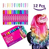 #8: Hair Chalks - 12 Pack Temporary Glitter Hair Chalk Pens Washes Out Easily With No Mess - Best Birthday Christmas Gifts for Girls Boys - 85 Applications Per Chalk Pen (12 Vibrant Colors Included)