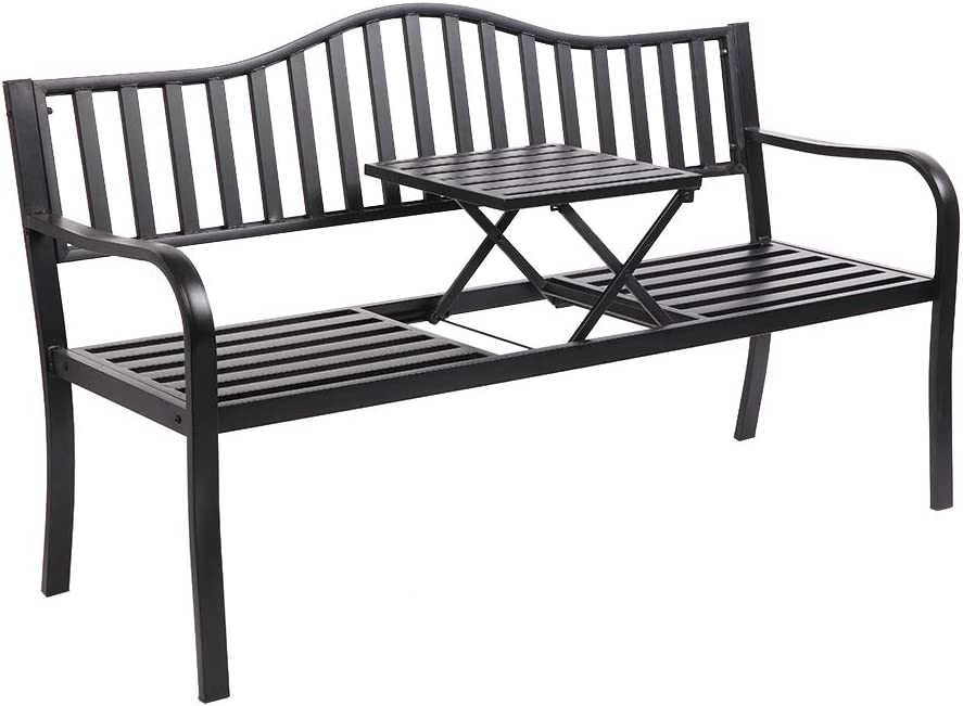 "VINGLI 59"" Patio Garden Bench Table Outdoor Metal Park Benches,Cast Iron Steel Frame Chair Porch Path Yard Lawn Decor Deck: Kitchen & Dining"