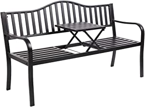 "VINGLI 59"" Patio Garden Bench Table Outdoor Metal Park Benches,Cast Iron Steel Frame Chair Porch Path Yard Lawn Decor Deck"
