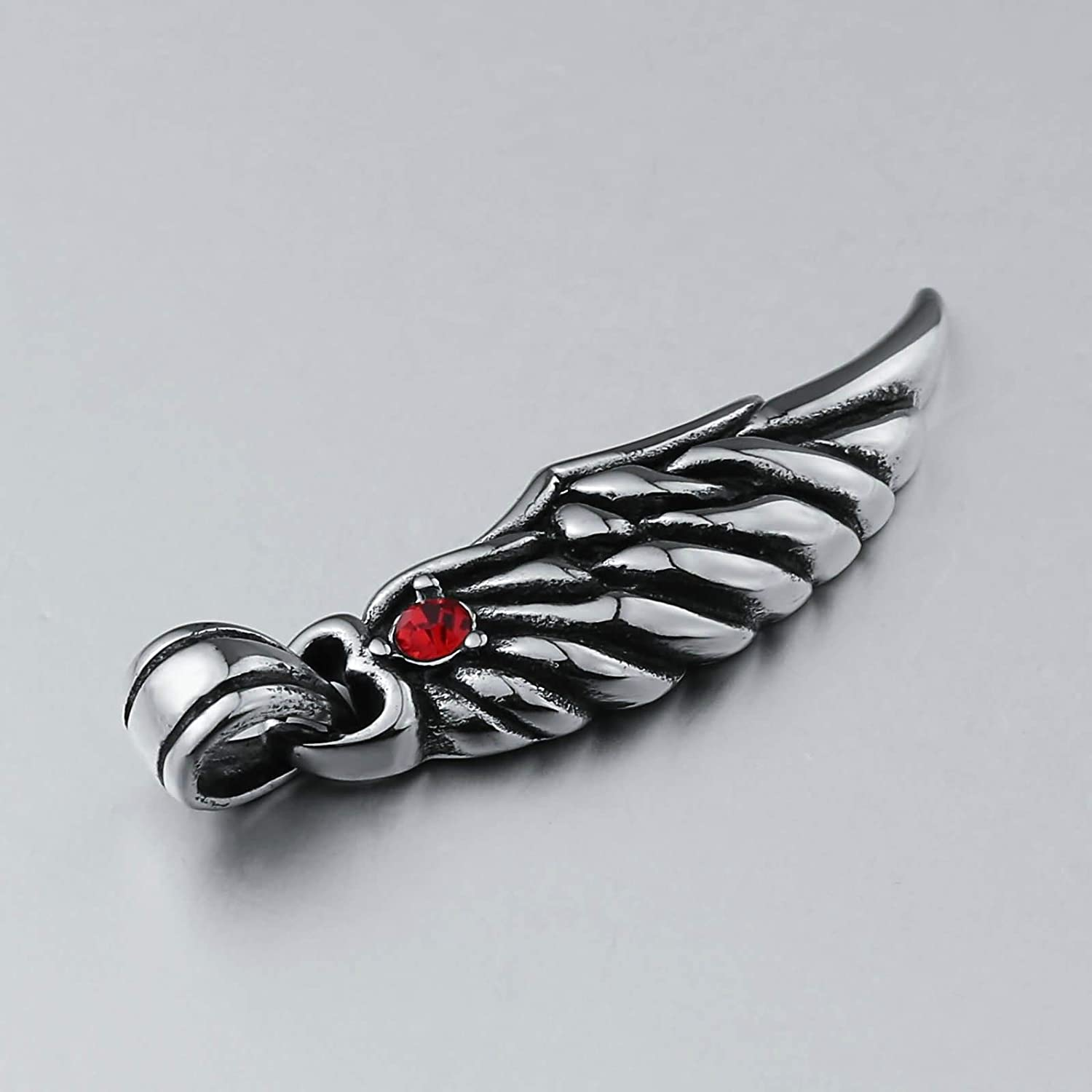 Beydodo Men Stainless Steel Necklace with Pendant Punk Rock Wing with Cubic Zirconia Pendant