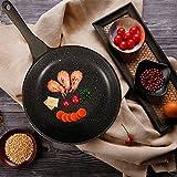KI 11'(28cm) Nonstick Frying Pan Aluminum Wok Pan with Natural Coating, Glass Lid Cookware Ceramic Omelette Fry Pan, PFOA Free, 1 Year Warranty