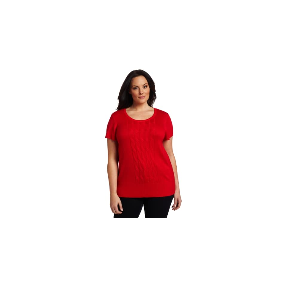 AK Anne Klein Womens Plus Size Peplum Sleeveless Scoop Neck Cable Front Shirt, Red Poppy, 0X