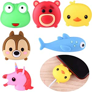 ASTARON 6Pcs Animal Cable Protectors for iPhone/iPad, Phone USB Charger Cable Saver Cable Wire Protector,Phone Accessory Protect Charging Cable