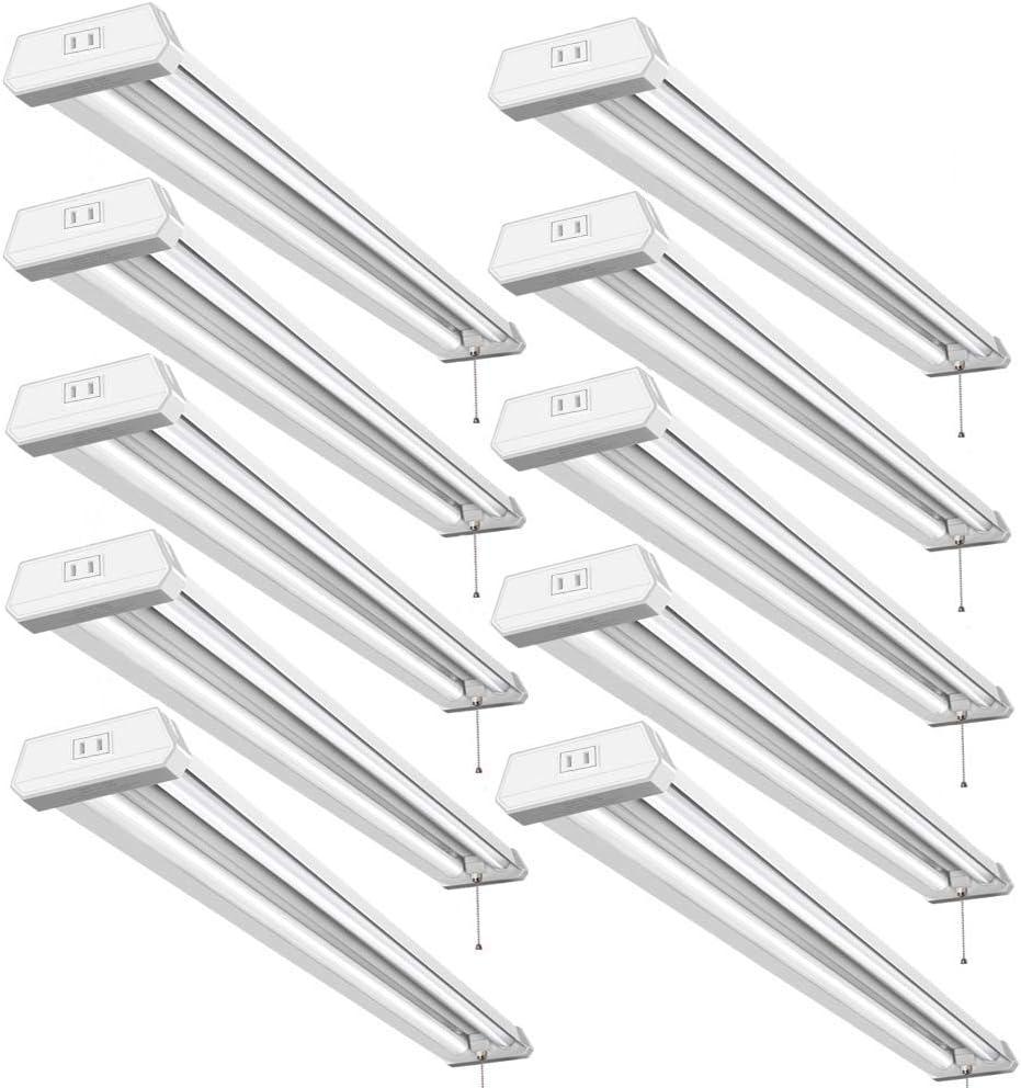 Bbounder 10 Pack 4ft Led Shop Light, Led Utility Shop Light, 48 Inch Linkable Integrated Fixture for Garage, 42W(Equivalent 270W), 5000K, Surface + Suspension Mount, ETL & Energy Star Certified.