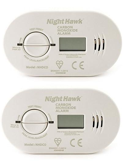 2 x Kidde 5DCO funciona con pilas detector de monóxido de carbono con pantalla Digital