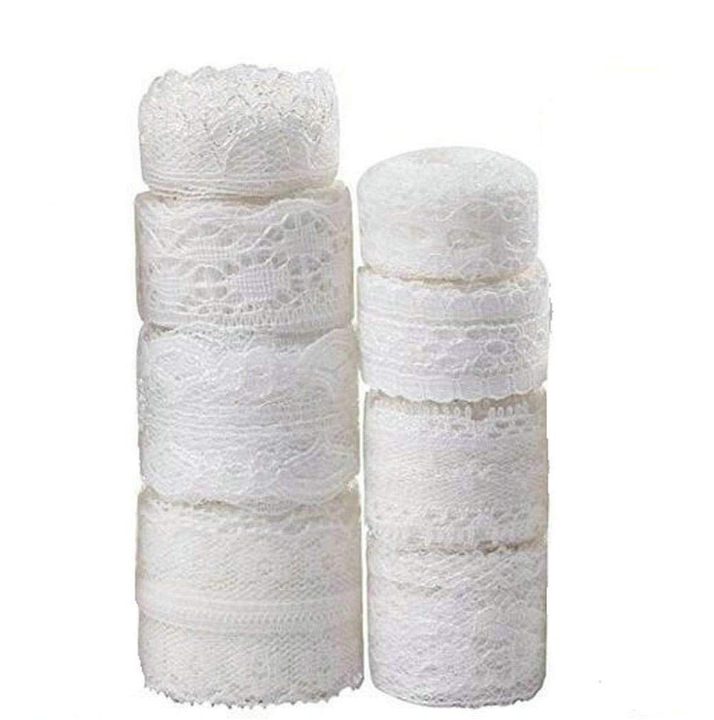 PassLove 30 Yard White Lace Trim 5Rolls Assorted Patterns Lace Ribbon Vintage for Sewing DIY Making and Bridal Wedding Decorations