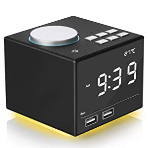 """Digital Alarm Clock Radio, Bedside FM Radio Clock With Bluetooth Speaker Colorful Atmosphere Light, Dual Alarms, Snooze&Sleep Timer, Dual USB Port, 4.2"""" LED Display with Dimmer for Bedroom Home Office"""